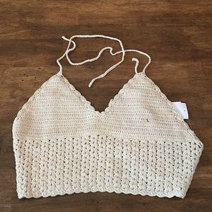 BOHO Crochet Bikini Halter Top L NWT Cream